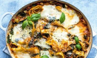 One-pan vegetable lasagne