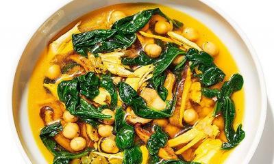 Saffron chicken stew with greens and chickpeas